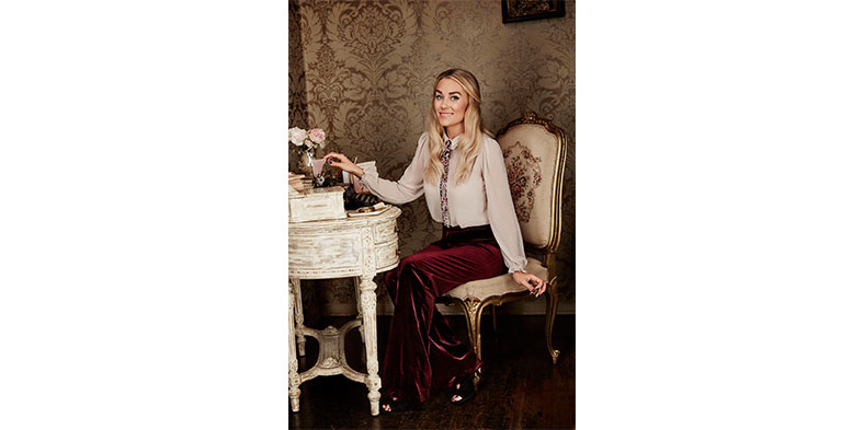 LC Runway Collection Ruffle Collar Blouse, Orig. $50.00; Velvet Trousers, Orig. $60.00