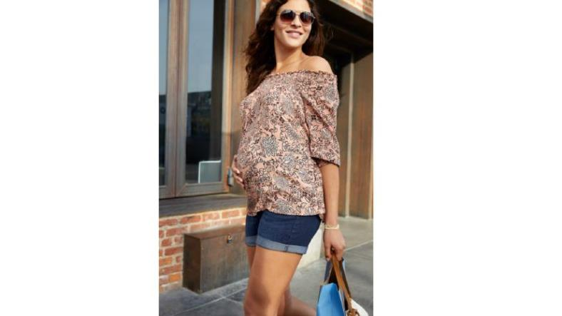 a:glow Off-the-Shoulder Smocked Top and Belly Panel Cuffed Jean Shorts