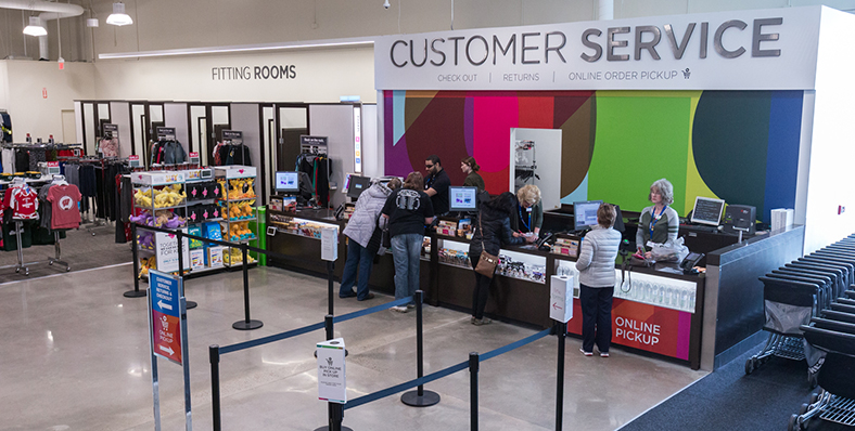 As part of the test and learn process, customer service was moved to the front of the store.