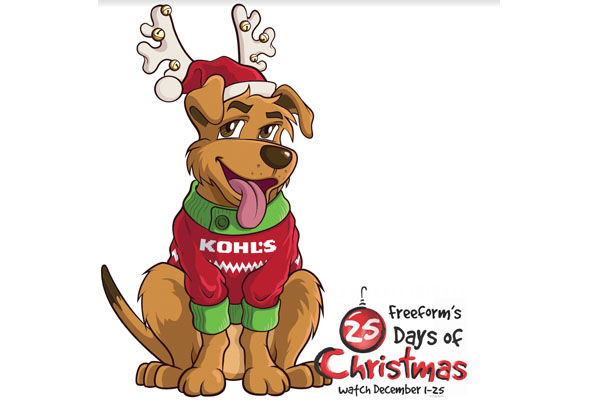 freeforms 25 days of christmas will feature eggnog the dog as a kohls brand mascot