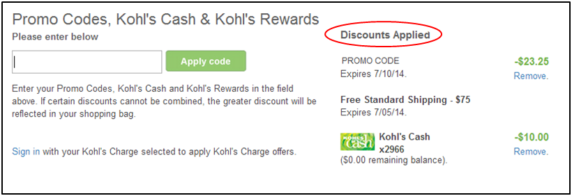 entering promo codes kohl s cash rewards in checkout