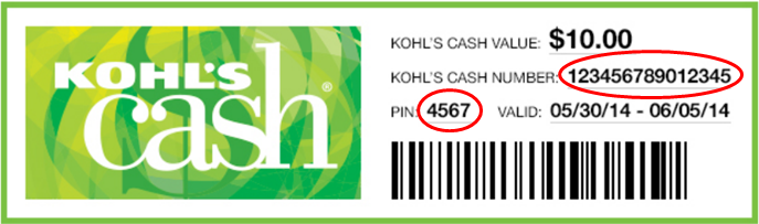Kohl's Gift Card number and PIN
