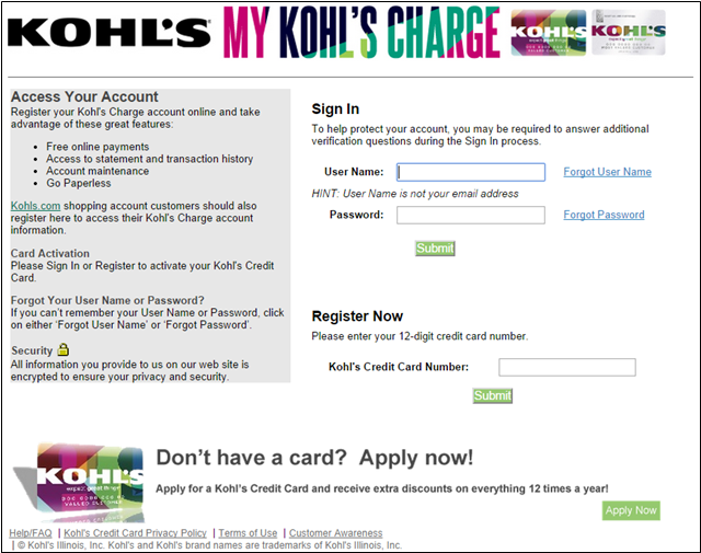 For easier access, you can sign in to both your My Kohl's Charge or summer-school.ml shopping accounts from the same place on the summer-school.ml homepage! Your My Kohl's Charge account gives you online access to make a payment, view recent purchases and much more!